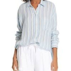 Vince BNWT Blue striped shirt sz M NEW linen